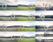 草地道路风光摄影高清图片