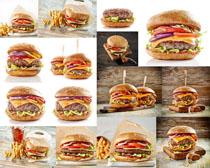 汉堡包薯条展示拍摄高清图片