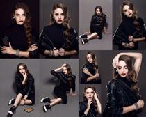 时尚皮衣欧美女人摄影高清图片
