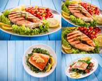 海鱼柠檬食物摄影高清图片