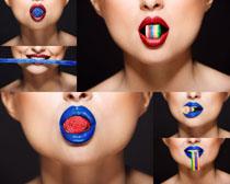 嘴唇口红女子摄影高清图片