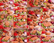 炸鸡翅与酱摄影高清图片