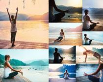 湖泊瑜伽女子摄影高清图片