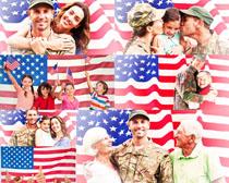 美国旗帜家庭人物摄影高清图片