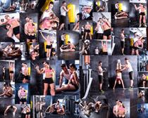 健身房子运动男女拍摄高清图片
