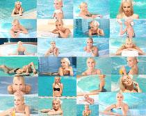 游泳池美女写真拍摄高清图片