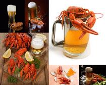 龙虾与啤酒摄影高清图片