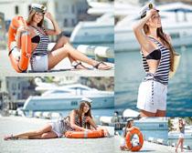 海军休闲服装女子摄影高清图片