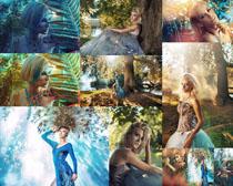 美女模特森林写真摄影高清图片