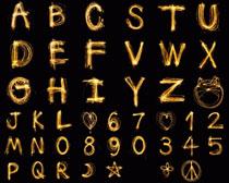 金色数字字母摄影高清图片