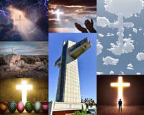 天空景色十字架摄影高清图片