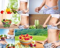 蔬菜水果�l身女子摄影高清图片