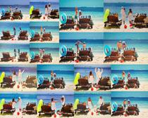 海边沙滩一家人摄影高清图片