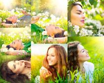 春天花草与美女拍摄高清图片