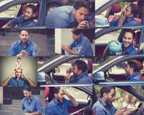 汽车与欧美男子摄影高清图片