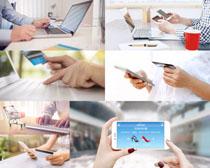 手机笔记本办公摄影高清图片