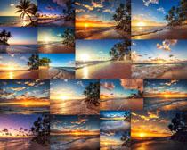夕阳海边风景拍摄高清图片