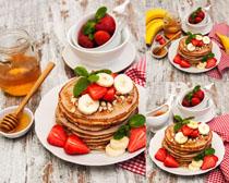 水果面饼蜂蜜摄影高清图片