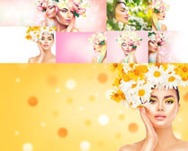 花朵装饰美女拍摄高清图片