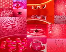 红背景水珠摄影高清图片
