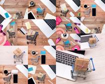 笔记本商务与购物车摄影高清图片