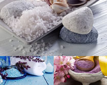 spa毛巾花朵石子摄影高清图片