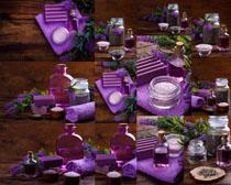 紫色SPA护理工具摄影高清图片