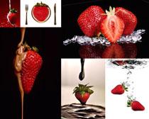 草莓与巧克力摄影高清图片