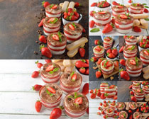 草莓双皮奶摄影高清图片