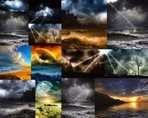 闪电乌云大海风景摄影高清图片