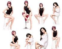 凳子与模特美女摄影高清图片