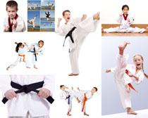 儿童空手道练习摄影高清图片