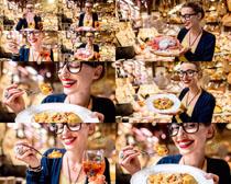 食物与欧美美女摄影高清图片