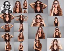 卷发时尚眼镜美女摄影高清图片