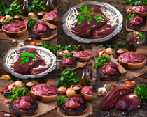 猪肝与食材摄影高清图片