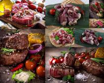 猪心与牛肉摄影高清图片