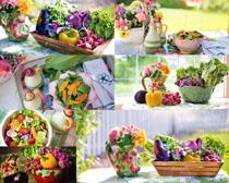 蔬菜沙拉与花朵摄影高清图片