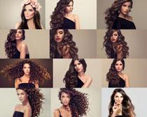 卷发欧美发型美女摄影高清图片