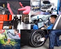 汽车轮胎维护摄影高清图片