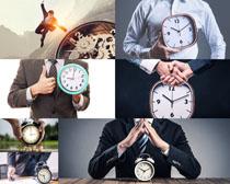 时钟与商务男人摄影高清图片