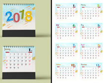 2018简洁台历设计PSD素材