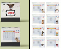 2018宠物狗台历设计PSD素材