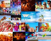 夏天喝果汁的人们摄影高清图片