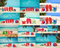 沙滩拖鞋风景摄影高清图片