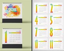 水彩风20418日历设计矢量素材