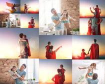 超人爸爸父女摄影高清图片