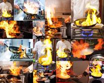 厨房厨师火焰摄影高清图片