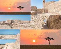 夕阳风景与城墙摄影高清图片