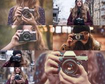 拍照片的欧美女人摄影高清图片