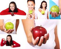 美女与苹果摄影高清图片
